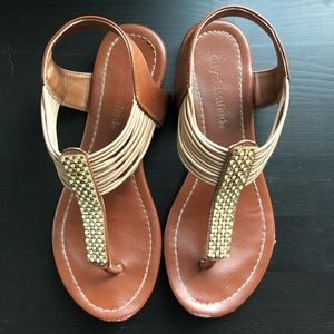 Cityclassifed Brown & Gold Sz6 Sandals